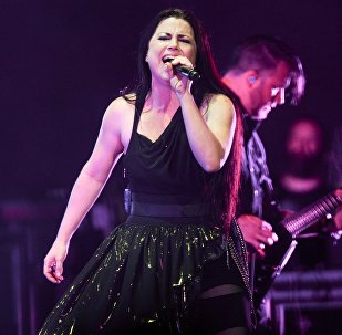 American rock band Evanescence's vocalist Amy Lee performs at a concert in the Stadium-live Club, Moscow