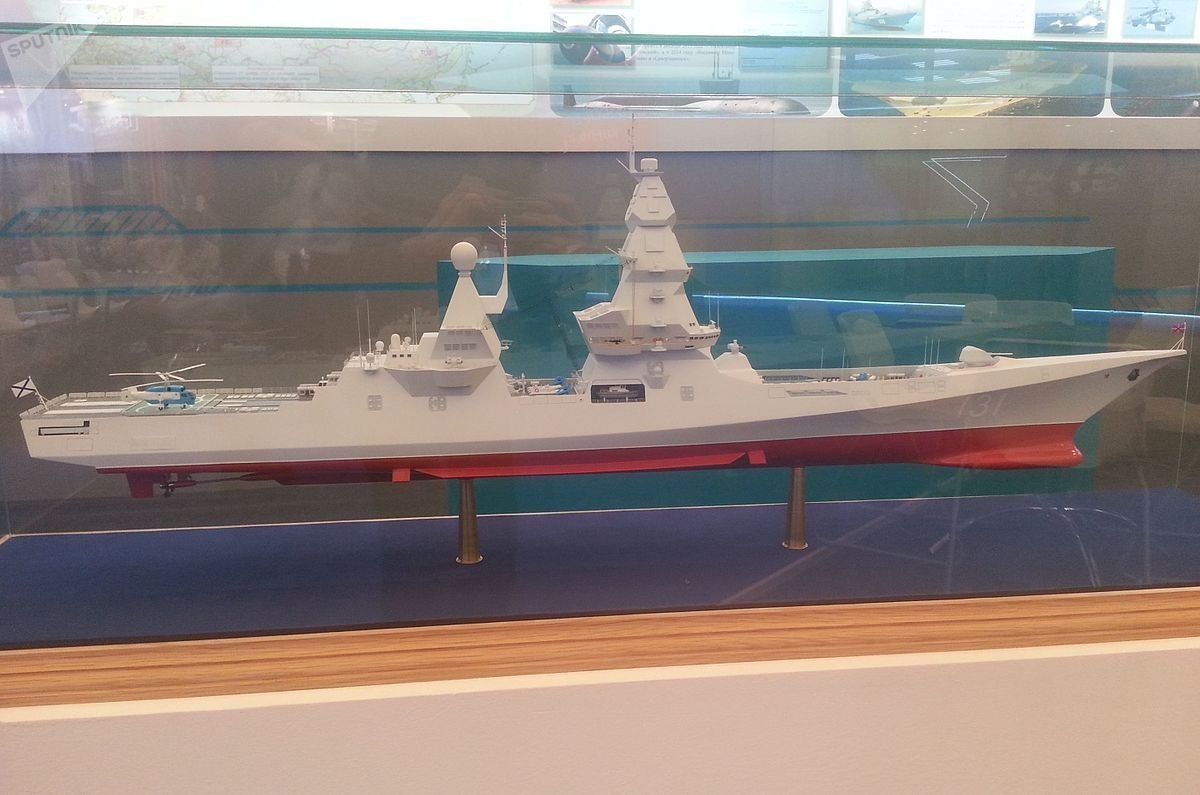 The mock Leader-class destroyer at a defense exhibition. File photo