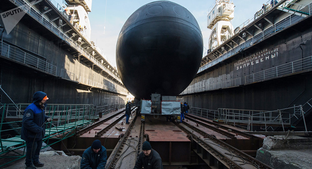 The launch of The Veliky Novgorod diesel-electric submarine of the Project 636 for Black Sea Fleet at the Admiralty Shipyard in St. Petersburg
