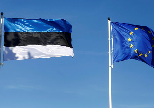 Estonia's and EU flags flutter in Tallinn, Estonia, June 29, 2017.
