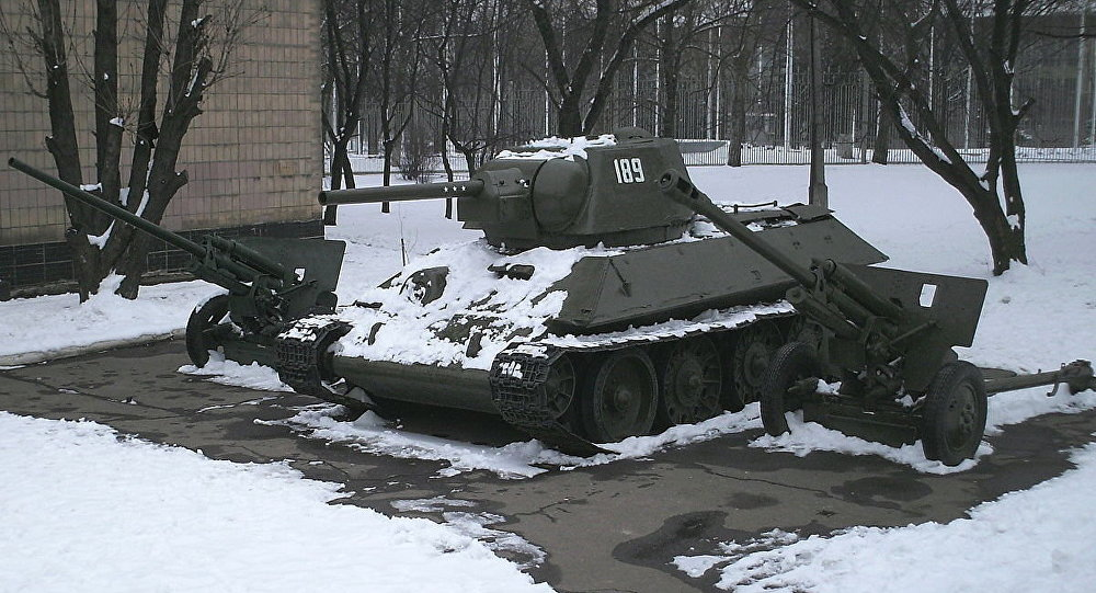 T-34 medium tank on display at Donetsk museum