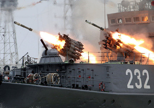 RBU-6000 systems firing during a repetition of the Baltic Fleet Day parade, file photo.