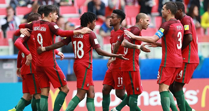 Members of Portugal's national team celebrate a goal during the 2017 FIFA Confederations Cup third-place match between Portugal and Mexico