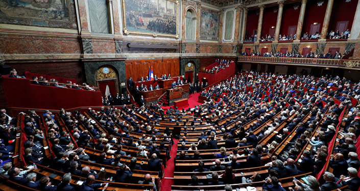 French President Emmanuel Macron delivers a speech during a special congress gathering both houses of parliament (National Assembly and Senate) at the Versailles Palace, near Paris, France, July 3, 2017.