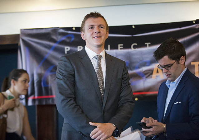 James O'Keefe, President of Project Veritas Action, waits to be introduced during a news conference at the National Press Club in Washington. (File)