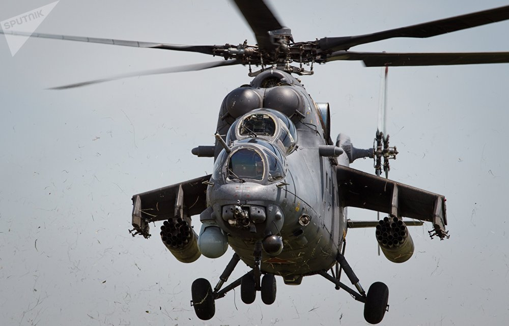 Russian Special Forces Mi-35M Helicopters Take Part in Drill