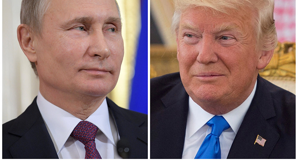 (File) Russian President Vladimir Putin attends a news conference at the Kremlin in Moscow, Russia, on January 17, 2017 and U.S. President Donald Trump seen at a reception ceremony in Riyadh, Saudi Arabia, on May 20, 2017, as seen in this combination photo
