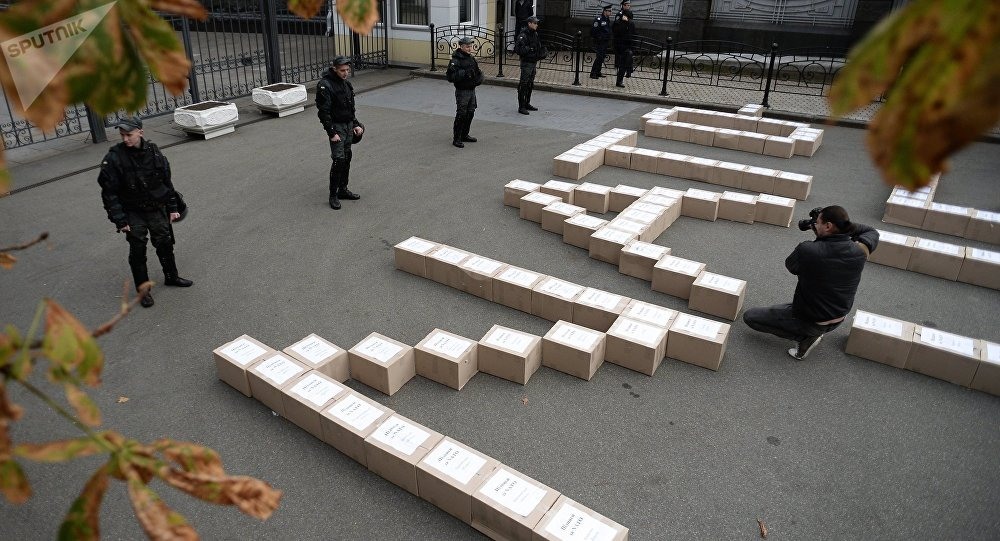 Boxes containing signatures of Ukrainian people in support of the referendum on Ukraine's accession to the NATO system of collective security, outside the President's Administration building.