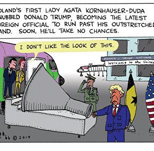 Trump Hand Snub Cartoon
