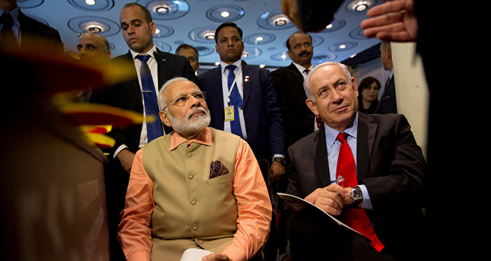Indian Prime Minister Narendra Modi and Israeli Prime Minister Benjamin Netanyahu attend an Innovation conference with Israeli and Indian CEOs in Tel Aviv, Israel July 6, 2017