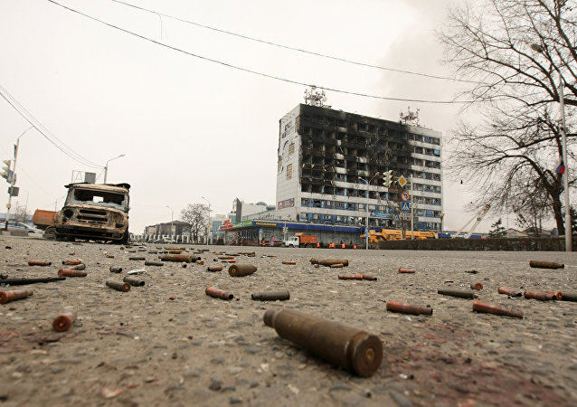 Shells by the Press House in Grozny, where a counter-terrorism operation was conducted by the Chechen Interior Ministry forces