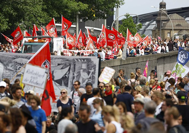 Protesters attend demonstrations at the G20 summit in Hamburg, Germany, July 8, 2017