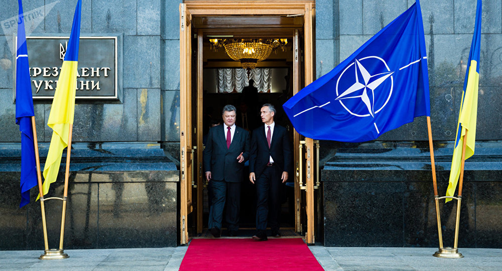 Ukrainian President Petro Poroshenko (right) and NATO Secretary General Jens Stoltenberg are seen here after a meeting of the Defense and Security Council of Ukraine
