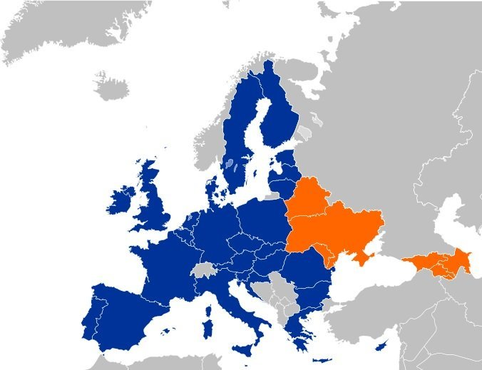 Map featuring the European Union and the countries involved in its Eastern Partnership Program (in orange)