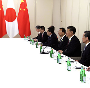 In this photo released by China's Xinhua News Agency, Japanese Prime Minister Shinzo Abe, second from left, and Chinese President Xi Jinping, second from right, meet on the sidelines of the G20 summit in Hamburg, Germany, Saturday, July 8, 2017.