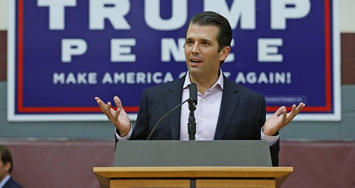 Donald Trump Jr. speaks at a campaign rally for his father, Republican presidential candidate Donald Trump, at Arizona State University Thursday, Oct. 27, 2016, in Tempe, Ariz.