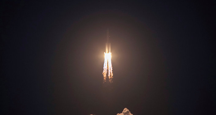 The Long March-5 Y2 rocket takes off from Wenchang Satellite Launch Center in Wenchang Hainan Province China