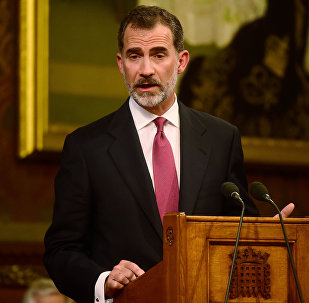 Spain's King Felipe delivers a speech at the Palace of Westminster in London, Britain July 12, 2017.