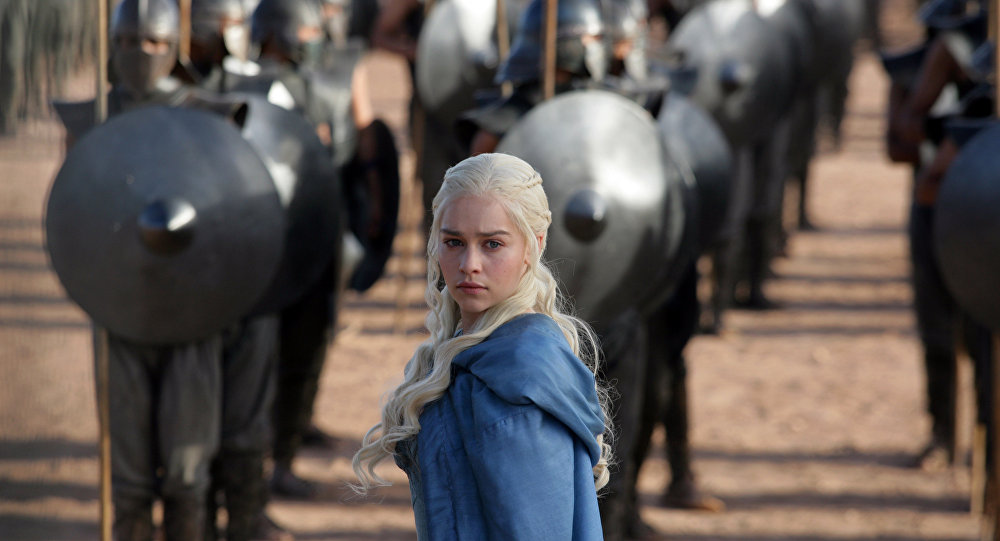 This file publicity image released by HBO shows Emilia Clarke as Daenerys Targaryen in a scene from Game of Thrones.