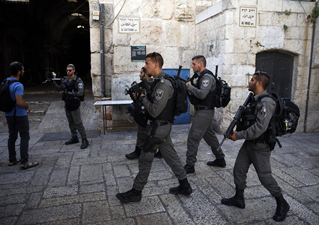 Israeli borderguards patrol in Jerusalem's Old City on July 14, 2017, following an attack