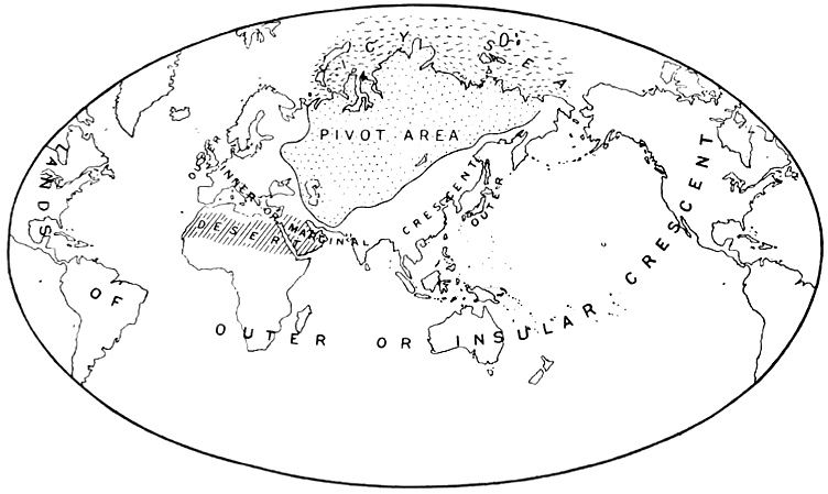 Map of the Heartland Theory, as published by H.J. Mackinder in 1904, which suggests that the Heartland's size and central position in the world makes it the key to controlling the World-Island of Europe, Asia and Africa.