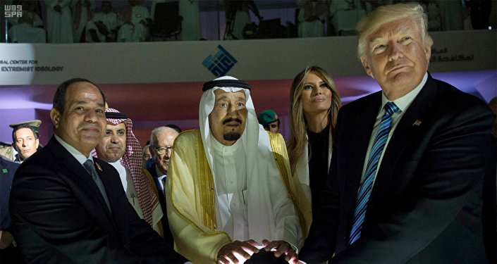 In this May 21, 2017 file photo, released by the Saudi Press Agency, from left to right, Egyptian President Abdel Fattah al-Sissi, Saudi King Salman, U.S. First Lady Melania Trump and President Donald Trump, visit a new Global Center for Combating Extremist Ideology, in Riyadh, Saudi Arabia