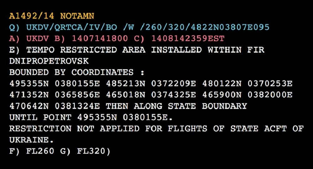 A NOTAM notification