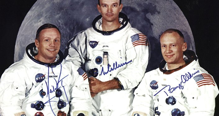 the crew of the Apollo 11 lunar landing mission L-R Neil Armstrong, commander, Michael Collins, command module pilot and Edwin E. Aldrin Jr, lunar module pilot, 01 May 1969.