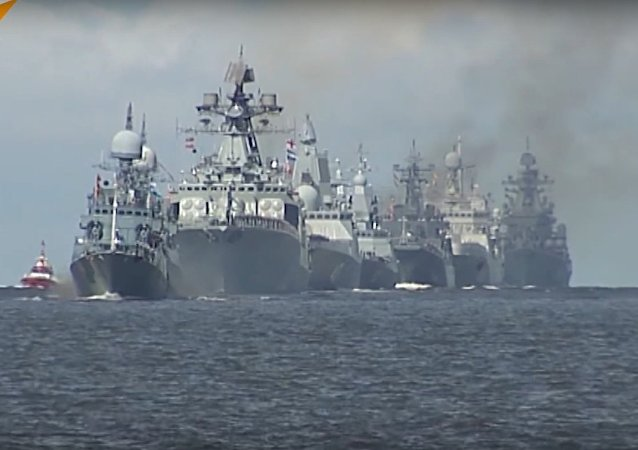 First Rehearsal of Main Naval Parade in Kronstadt