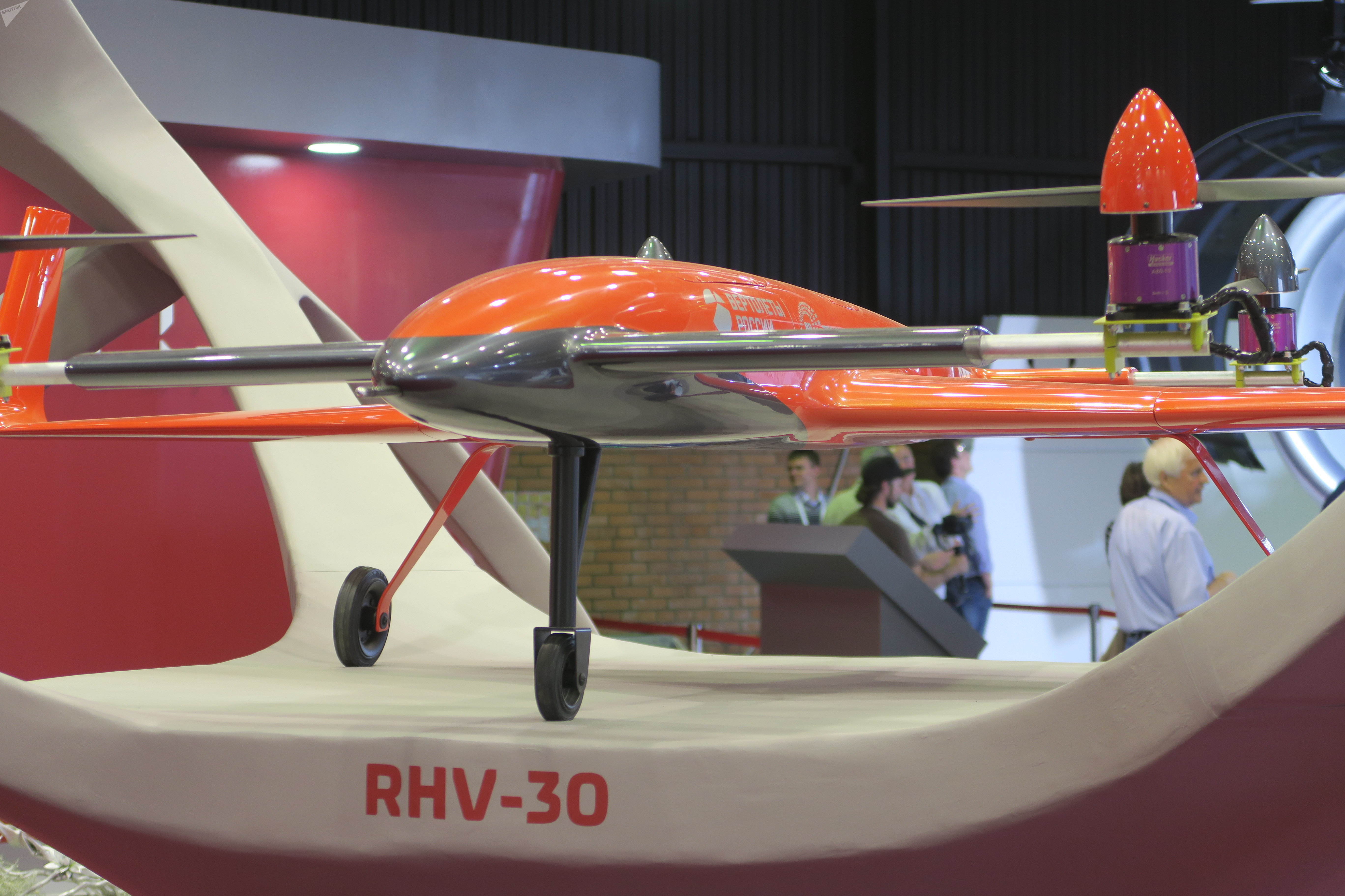 A Russian convertible aircraft is on display at the MAKS-2017 air show