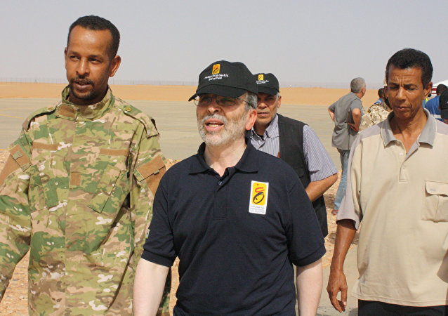 Mustafa Sanalla, chairman of Libya's National Oil Corporation, arrives at Sharara oil field near Ubari, Libya, July 6, 2017