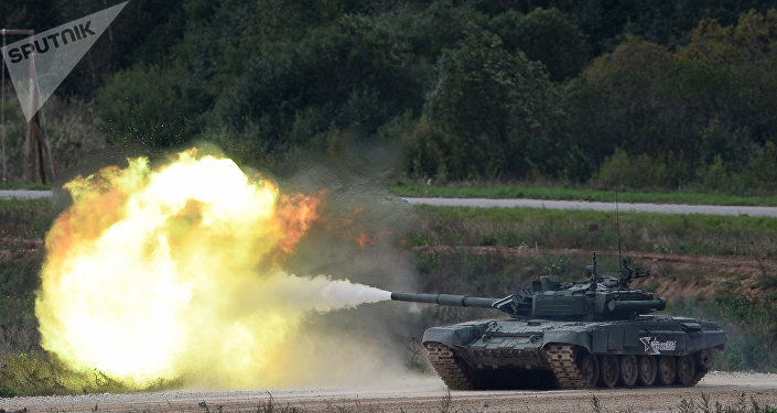 A T-90 tank shoots during a demo exercise at Alabino base. File photo