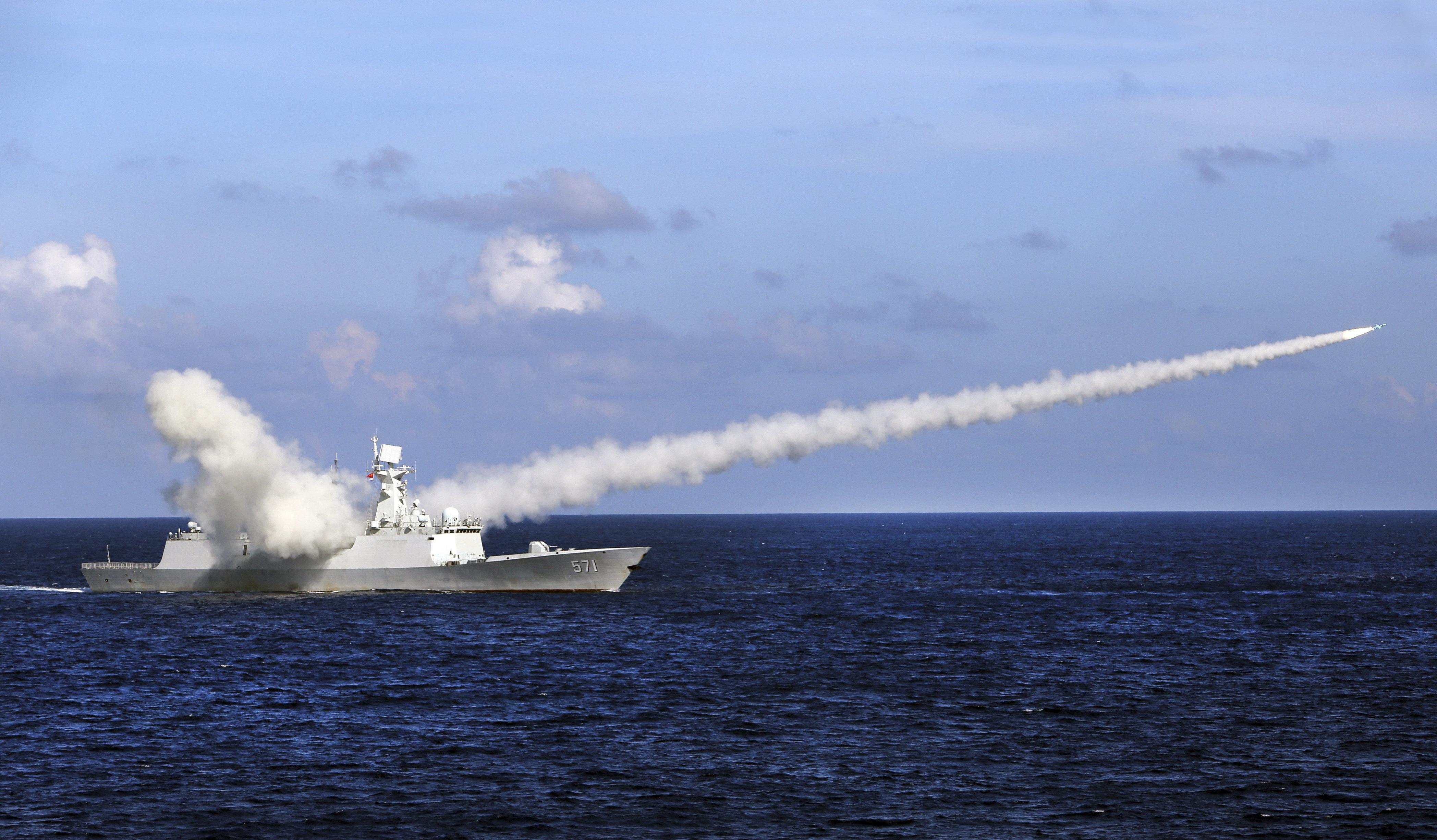 Chinese missile frigate Yuncheng launches an anti-ship missile during a military exercise (File)