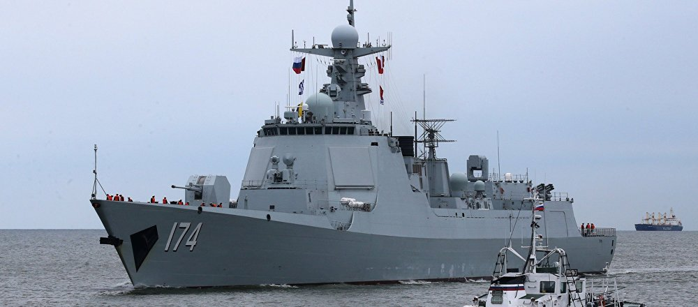 The Type 052D destroyer Hefei of the Chinese Navy arrives in Baltiysk for the 2017 Naval Cooperation Russia-China drills