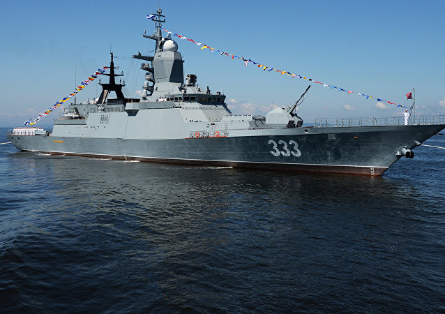 The Sovershenny corvette during a general rehearsal of a parade of ships and a military sport event devoted to the Navy Day in Vladivostok. File photo