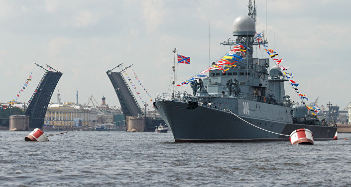 Russian Navy Day parade in St. Petersburg