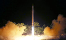 Intercontinental ballistic missile (ICBM) Hwasong-14 is pictured during its second test-fire in this undated picture provided by KCNA in Pyongyang on July 29, 2017