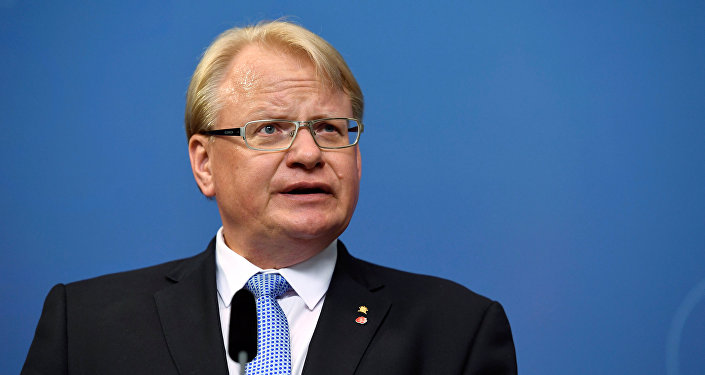 Sweden's Defence Minister Peter Hultqvist attends a news conference at Rosenbad, the Swedish government headquarters, in Stockholm, Sweden July 27, 2017