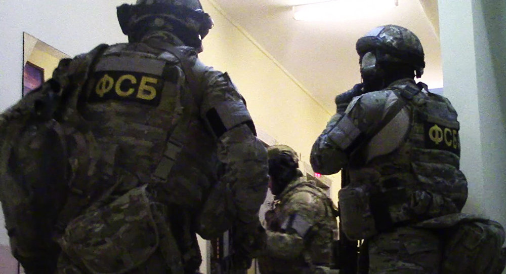 Federal Security Service agents during a sabotage-terrorist group arrest operation in Moscow. (File)