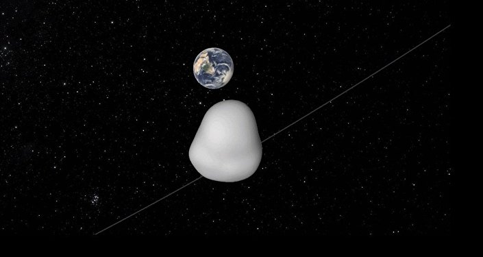 This animation depicts the safe flyby of asteroid 2012 TC4 as it passes under Earth on October 12, 2017.