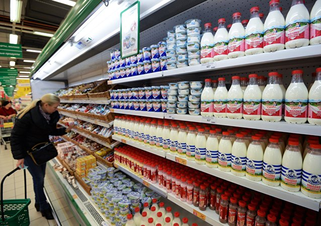 Dairy aisle in a Russian supermarket