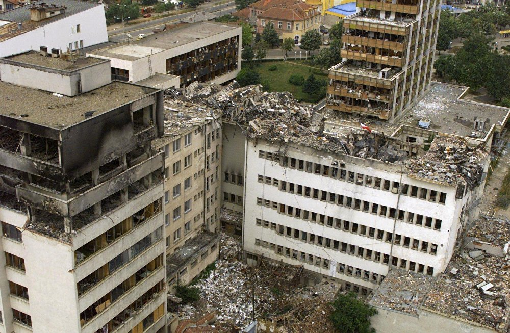 An aerial view taken 15 June 1999 of the Pristina central post office which was destoyed by NATO bombing.