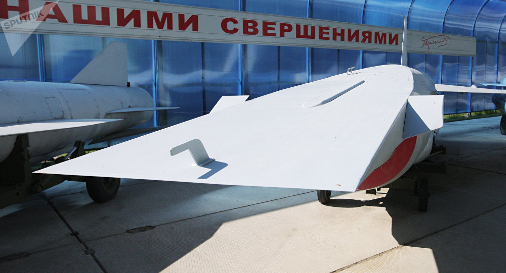 A hypersonic missile design displayed at an exhibition staged by the Raduga Design Bureau