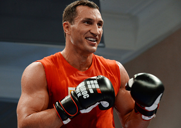 Ukrainian boxer Wladimir Klitschko training before a fight with Russian boxer Alexander Povetkin. (File)