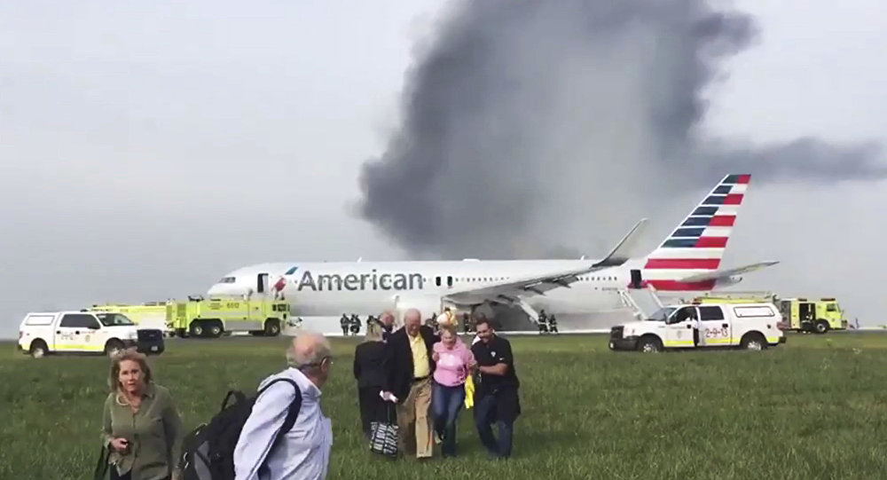 American Airlines Plane Catches Fire At Chicago O'Hare Airport