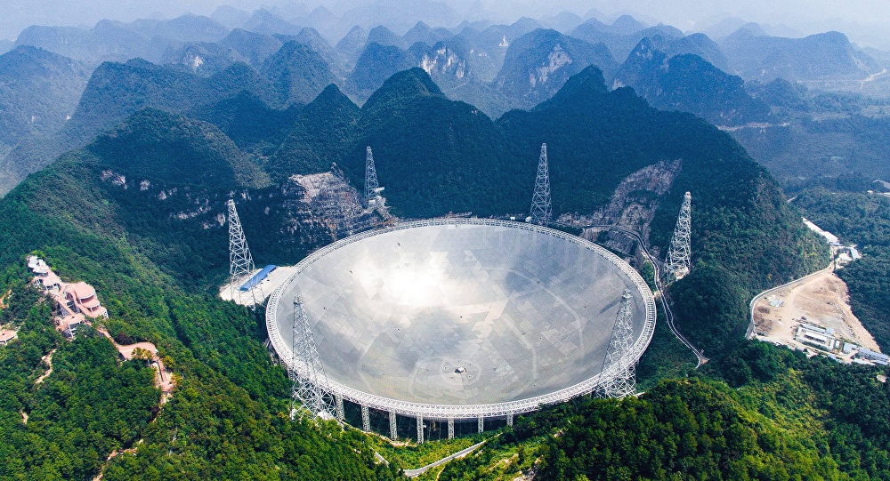 World's largest telescope. Five-hundred-meter Aperture Spherical Telescope (FAST) in the remote Pingtang county in southwest China's Guizhou province.