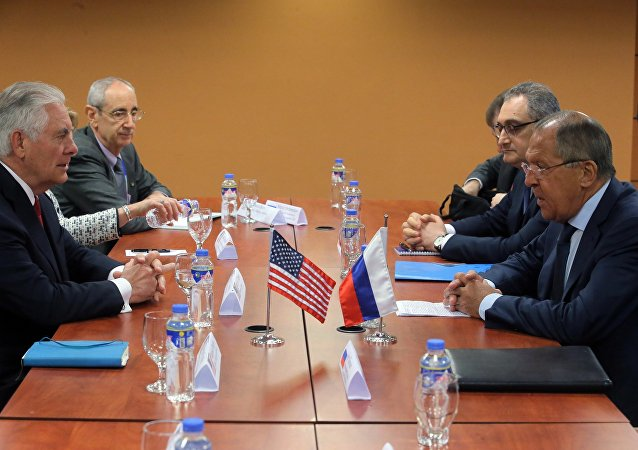 Russian Foreign Minister Sergei Lavrov during a meeting with US Secretary of State Rex Tillerson on the sidelines of the ASEAN in Manila