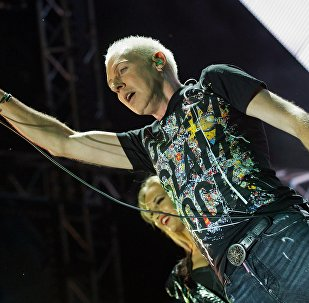 Scooter vocalist H.P. Baxxter at the #ZBFest 2017 music festival in Balaklava