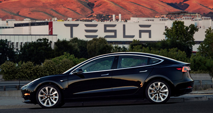 First production model of Tesla Model 3 out the assembly line is seen in this undated handout photo from Tesla Motors.