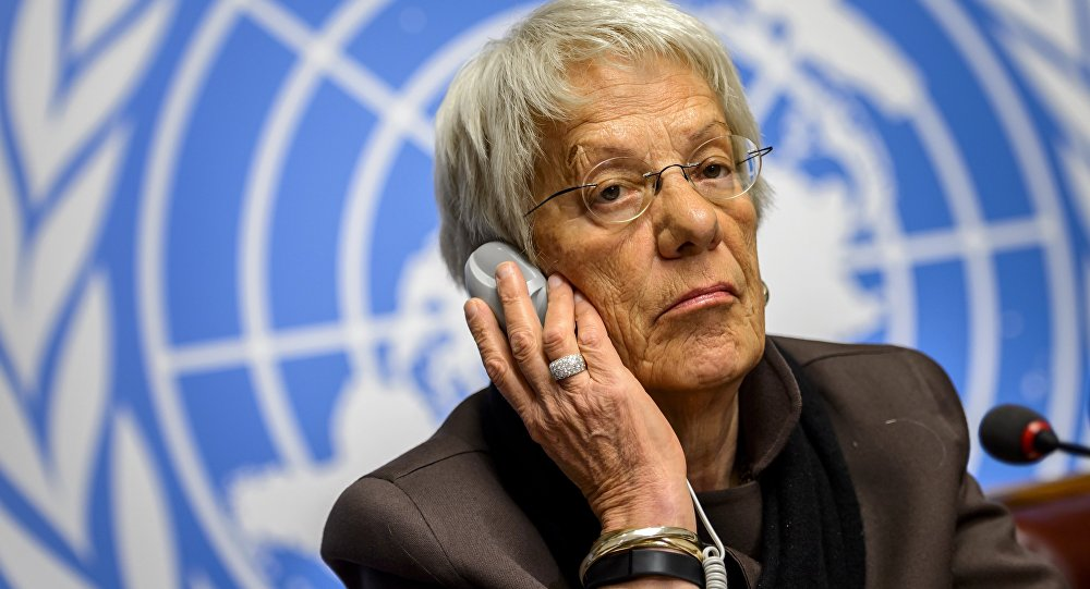 This file photo taken on March 17, 2015 shows Member of the United Nations (UN) Commission of Inquiry on Syria, Carla del Ponte attending a press conference in Geneva